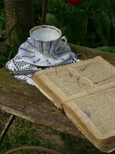 Buch mit Teetasse im Garten