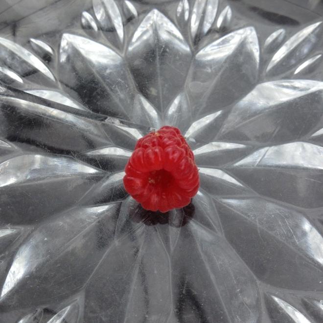 Einzelne rote Himbeere auf einem Glasschälchen liegend